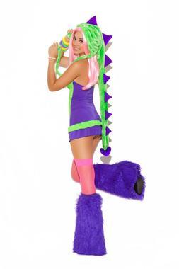 Dino Doll Costume Dress Dinosaur Hood Lizard Dragon Purple G
