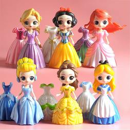 Disney Princess Girl Dolls 6pcs Toy Action Figures w/Changea