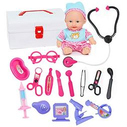 Doctor Kit for Kids with Doll & Doctor Playset Toy - 16pcs M