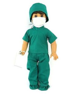 Doctor Medical Scrubs 4pc for American Girl or Boy Doll Clot
