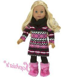 "Doll Clothes 18"" Dress Pink Pom Pom Sophia's Fits American G"