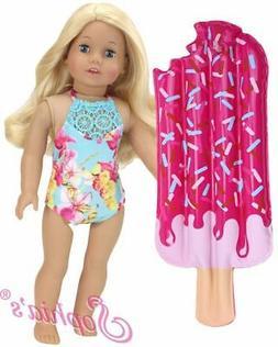 """Doll Clothes 18""""  Bathing Suit Aqua Floral Lace Neckline Flo"""