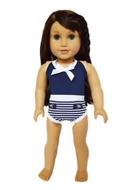 """Doll Clothes 18"""" Bathing Suit Navy White One-piece Fits Amer"""