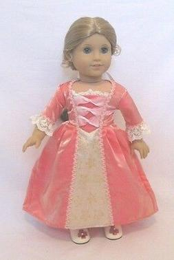 "Doll Clothes 18"" Doll Colonial Dress Slip Hat Shoes Fits AG"