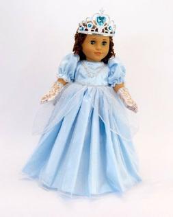 "Doll Clothes 18"" Dress Cinderella Blue Gloves Tiara Fits Ame"