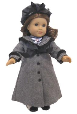 """Doll Clothes 18"""" Dress Coat Hat Grey Wool Fits American Girl"""