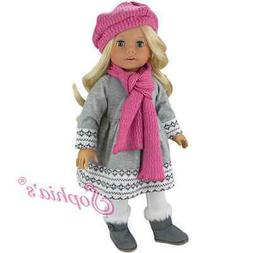 "Doll Clothes 18"" Dress Gray Fair Isle by Sophia's Fits Ameri"