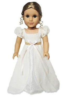 "Doll Clothes 18"" Dress Ivory Victorian Headband Fits America"