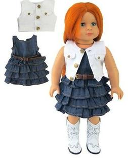 """Doll Clothes 18"""" Dress Jean Vest White Western Fits American"""