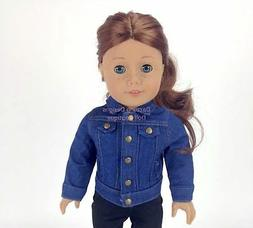"Doll Clothes 18"" Jacket Coat Blue Denim Jean For American Gi"
