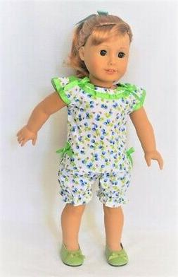 "Doll Clothes 18"" Pajamas Slippers Lime Blue Mary Ellen 1954"