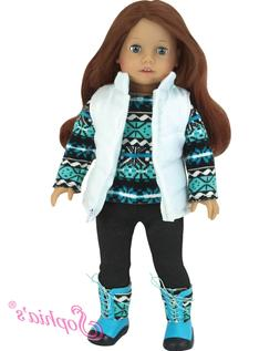 """Doll Clothes 18"""" Pants Top Vest Boots Teal Sophia's Fits Ame"""