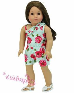 """Doll Clothes 18"""" Shorts Romper Floral Aqua Sophia's Fits Ame"""
