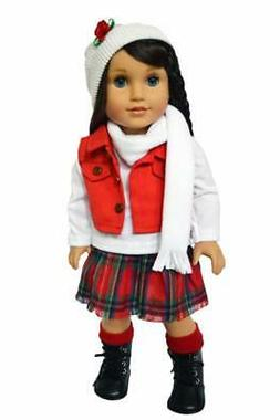 """Doll Clothes 18"""" Skirt Top Vest Scarf Hat Boots Fits 18"""" Ame"""