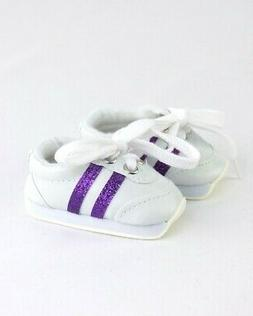 """Doll Clothes 18"""" Sneakers Shoes White Purple Chevron Fits Am"""