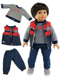 Doll Clothes 3 PC Race Vest Pants Set For 18 Inch American G