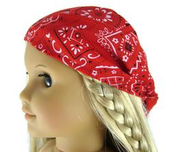"""Doll Clothes fits 18"""" American Girl Red Bandana Hat Head Sca"""