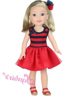 """Doll Clothes Red Dress & Sandals For 14.5"""" American Girl Wel"""