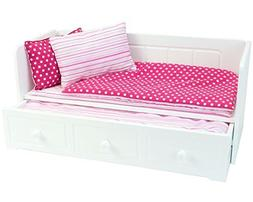 18 Inch Doll Furniture, White Day Bed with Trundle and Beddi