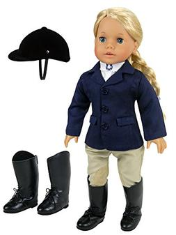 18 inch doll Horse Riding Outfit, 5 Piece Complete Navy Eque