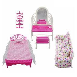 Doll House Furniture Living Room Pink Sofa Bed Dressing Tabl
