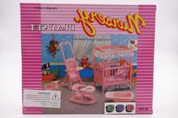 Gloria Doll House Furniture Nursery Set Fits Barbie