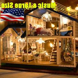 Doll House Miniature DIY Kit Dolls Toy House W/ Furniture LE