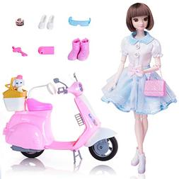 EXERCISE N PLAY Fashion Doll Playset with Scooter Dolls Toy