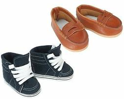 Sophia's 18 Inch Doll Boy Shoes by Navy Sneaker and Brown Lo