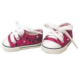 18 Inch Doll Sneakers. Hot Pink Glitter Doll Sneakers Shoes