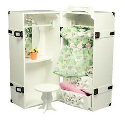 The Queen's Treasures Doll Storage Trunk with Vanity for 18