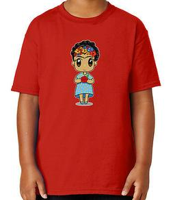 Doll with Rose Kid's T-shirt Frida Kahlo style Cute Girl Tee