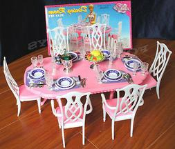 GLORIA DOLLHOUSE FURNITURE 6 CHAIRS DINING ROOM W/ Spoons Si