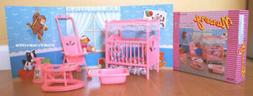 GLORIA DOLLHOUSE FURNITURE NURSERY ROOM W/Bed Sheet Stroller