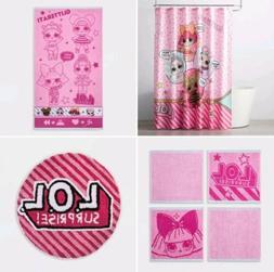 Lol Surprise Dolls 7pc Pink Bath Set Shower Curtain Towel Ru