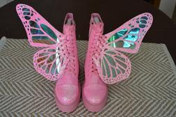 Dolls Kill Club Exx Bubblegum Pink Metamorphic Glitter Boots
