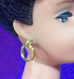 Dreamz GOLD HOOPS HOOP EARRINGS Doll Jewelry VINTAGE REPRO m