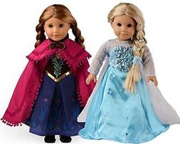sweet dolly Elsa and Anna Princess Costumes For 18 Inch Amer