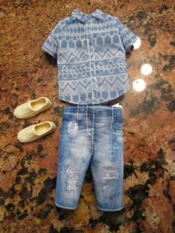 fashionista ken 13 barbie distressed denim shirt