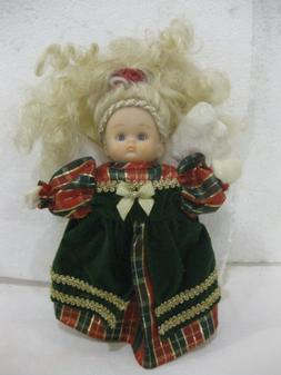 10 Inch Festive Blonde Angel Wearing A Green Dress Christmas
