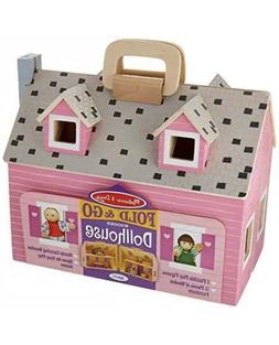 Fold & Go Miniature Dollhouse with Wooden Furniture and Doll