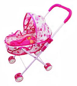 Foldable Dolls Buggy Stroller Pushchair Toy Doll With Baby P