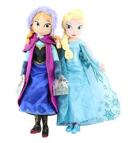 "Disney Frozen Princess Anna & Elsa Plush Set 16"" Doll Stuffe"