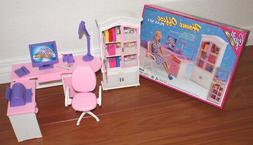 GLORIA FURNITURE DOLLHOUSE HOME OFFICE Shelf + Computer Book