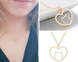 GIFT UNDER 5 DOLLAR Cute Cat Necklace Gold Animal for Girls
