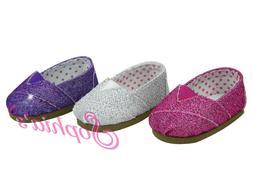 Glitter Slip-on Espadrilles - 18 Inch Doll Shoes - Fits Amer
