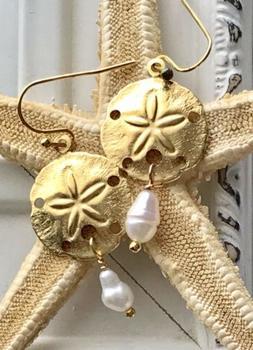 Gold Sand Dollar & Freshwater Pearl Earrings. Summer. Beach.