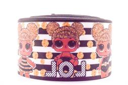 "GROSGRAIN BLACK STRIPES LOL DOLLS  3"" INCH PRINTED GROSGRAIN"
