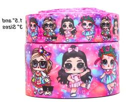 "GROSGRAIN NEW DANCING LOL DOLLS  3"" INCH PRINTED GROSGRAIN R"