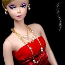 Handmade doll jewelry necklace earrings for Barbie doll and
